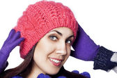 Portrait of happy woman in winter hat — Stock Photo