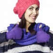 Stock Photo: Young smiley womin winter cloth showing hand ok sign