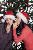 Two women near christmas tree gossip — Stock Photo