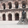 Matador statue outside ancient Romamphitheater in Nimes, France — Stockfoto #23125476
