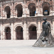 Matador statue outside the ancient Roman amphitheater in Nimes, France — Stock Photo