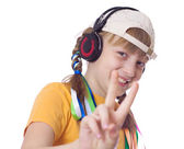 Adolescent girls with headphones on white background — Stock Photo