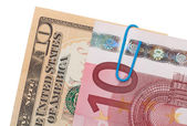 Euro and dollar banknotes money — Stock Photo