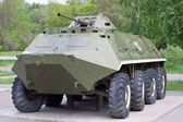 Armored troop-carrier BTR60PB floating — Stock Photo