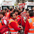 PAMPLONA, SPAIN-JULY 8: Medical staff, ambulance, on San Fermin — Stok fotoğraf
