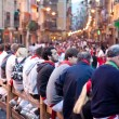 Stock Photo: PAMPLONA, SPAIN -JULY 9: crowd of unknown in anticipati