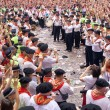Stock Photo: PAMPLONA, SPAIN -JULY 6: Band on square in front of muni