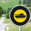 Stock Photo: Road sign with a picture of tank