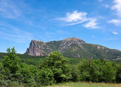 Bugarach mountain where will be the salvation of the in a — Stock Photo