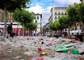 PAMPLONA, SPAIN-JULY 8: Household waste at San Fermin festival i — Stock Photo