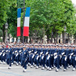 PARIS - JULY 14: Army columns marching at a military parade in t - Stock Photo
