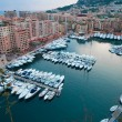 Aerial View on Fontvieille and Monaco Harbor with Luxury Yachts, — Stock Photo