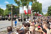 PARIS - JULY 14: Spectators watch at a military parade in the Re — ストック写真