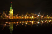 Panoramic view of Moscow Kremlin at night, Russia — Stock Photo