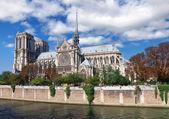 Notre Dame (Paris) along the Seine river — Photo