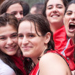 PAMPLONA, SPAIN -JULY 6: Young women are having fun at openi — Stock Photo #25801645