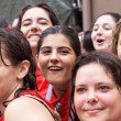 Stock Photo: PAMPLONA, SPAIN -JULY 6: Young women are having fun at openi