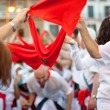 Stock Photo: PAMPLONA, SPAIN -JULY 7: having fun at opening of the