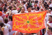 PAMPLONA, SPAIN-JULY 6: with a flag are having fun at the — Stock Photo