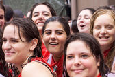 PAMPLONA, SPAIN -JULY 6: Young women are having fun at the openi — Stock Photo