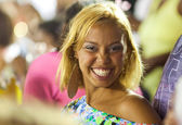 RIO DE JANEIRO - FEBRUARY 10: A woman in the stands laughing on — Stock Photo