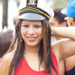 RIO DE JANEIRO - FEBRUARY 11: A girl in a sailor\'s cap having fu — Stock Photo