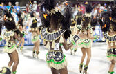RIO DE JANEIRO - FEBRUARY 10:Dancers in costume at carnival at S — Stock Photo