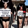 Stock Photo: PAMPLONA, SPAIN - JULY 5: People protesting against cruelty to a
