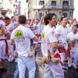 Stock Photo: PAMPLONA, SPAIN -JULY 6: People are having fun at opening of San