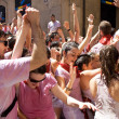 Stock Photo: PAMPLONA, SPAIN -JULY 6: Young people having fun at opening of S