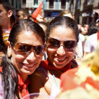 Stock Photo: PAMPLONA, SPAIN-JULY 6: Two womare posing at opening of SF