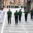 Stock Photo: PAMPLONA, SPAIN - JULY 6: shepherds go to beginning of race