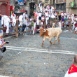 Stock Photo: PAMPLONA, SPAIN - JULY 8: Bull runs at photographer at SFermi