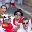 Stock Photo: PAMPLONA, SPAIN - JULY 8: People are having fun at opening o