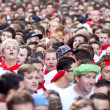 Stock Photo: PAMPLONA, SPAIN - JULY 8: People await start of race of bulls at