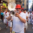 Stock Photo: PAMPLONA, SPAIN - JULY 8: Orchestron street at festival SFe