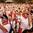 Stock Photo: PAMPLONA, SPAIN - JULY 9: People having fun at concert in squa