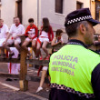 PAMPLONA, SPAIN - JULY 9: Police await start of race of bulls at — Stock Photo