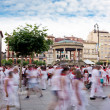 Stock Photo: PAMPLONA, SPAIN - JULY 10: People in square Castillo at San