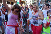 PAMPLONA, SPAIN -JULY 6: People are having fun at the opening of — ストック写真