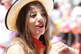 PAMPLONA, SPAIN-JULY 6: A beautiful woman in a hat at opening of — Stock Photo