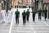 PAMPLONA, SPAIN - JULY 6: The shepherds go to beginning of race — Stock Photo