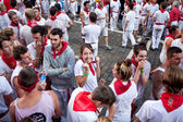 PAMPLONA, SPAIN - JULY 8: People await start of race of bulls at — Stock Photo