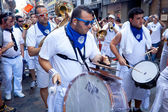 PAMPLONA, SPAIN - JULY 8: Orchestra are on street at opening of — Stock Photo