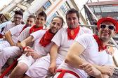 PAMPLONA, SPAIN - JULY 10: People await start of race of bulls a — Stock Photo