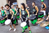 PAMPLONA, SPAIN - JULY 9: Drummers are on street during of San F — Stock Photo