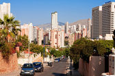 Benidorm - city of skyscrapers next to Mediterranean Sea — Stock Photo
