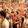 Stock Photo: PAMPLONA, SPAIN-JULY 15: People with red handkerchiefs at closin