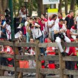 PAMPLONA, SPAIN-JULY 10: Media waiting for start of race bulls o — Stock Photo
