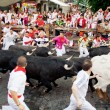Stock Photo: PAMPLONA, SPAIN-JULY 10: People run from bulls on street during